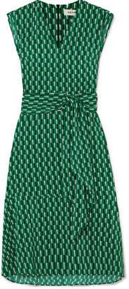 Cefinn - Matilda Belted Printed Crepe Midi Dress - Emerald