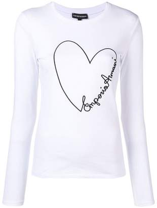 Emporio Armani embroidered heart longsleeved T-shirt