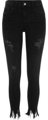 River IslandRiver Island Womens Black frayed Amelie super skinny jeans