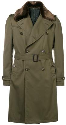 Tagliatore faux-fur trim trench coat