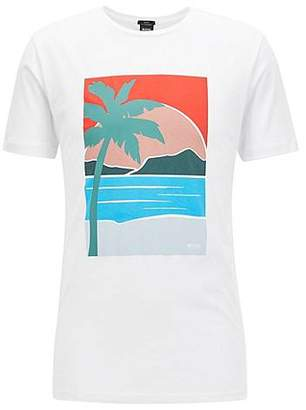 HUGO BOSS Slim-fit T-shirt with placed summer print