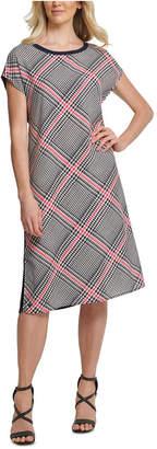 DKNY Plaid-Front Mixed-Media Dress