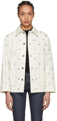 Bottega Veneta White Eyelet Long Jacket