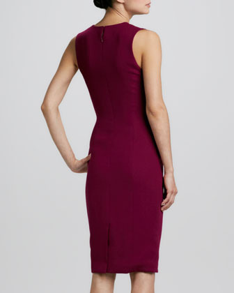 Carolina Herrera Sleeveless Gathered-Side Sheath Dress