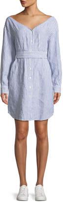 Frame Striped V-Neck Button-Down Linen Dress