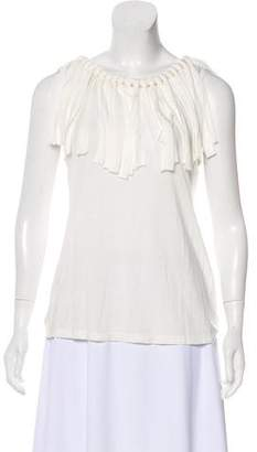 Lanvin Fringe-Trimmed Sleeveless Top w/ Tags