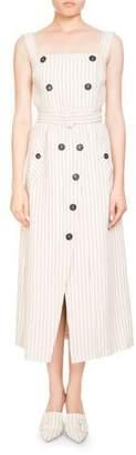 Altuzarra Audrey Pinstripe Apron-Front Belted Midi Dress w/ Button Trim