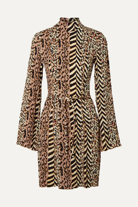Nanushka Yai Paneled Printed Crinkled-voile Mini Dress - Brown