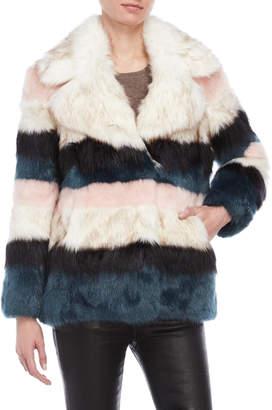 Juicy Couture Stripe Faux Fur Coat