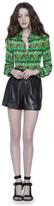 Alice + Olivia Ao X Donald Willa Large Collar Placket Top