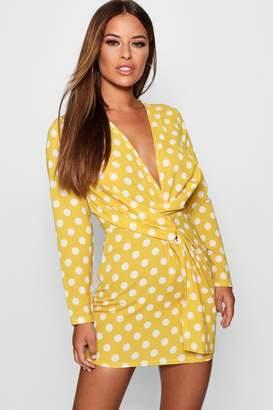 boohoo Petite Polka Dot Print Woven Shift Dress