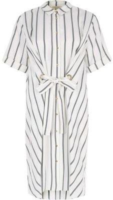 River Island Womens White stripe eyelet tie front shirt dress