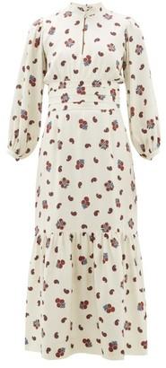 Rebecca De Ravenel Bailey Paisley Print Silk Blend Dress - Womens - White Multi