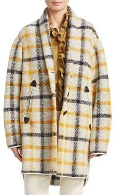 Etoile Isabel Marant Gabrie Wool Flannel Plaid Blanket Coat