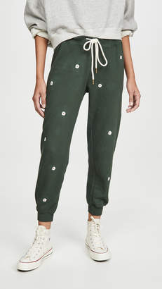 The Great The Cropped Sweatpants with Wildflower Embroidery