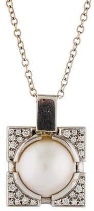 Versace 18K Mabé Pearl & Diamond Pendant Necklace