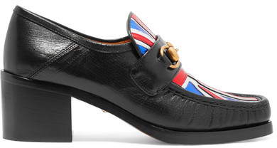 Gucci - Horsebit-detailed Collapsible-heel Metallic Leather Loafers - Black