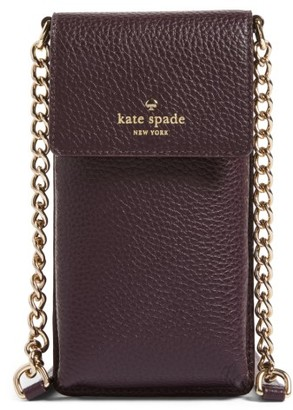 Kate Spade New York Leather Smartphone Crossbody Bag - Brown $128 thestylecure.com
