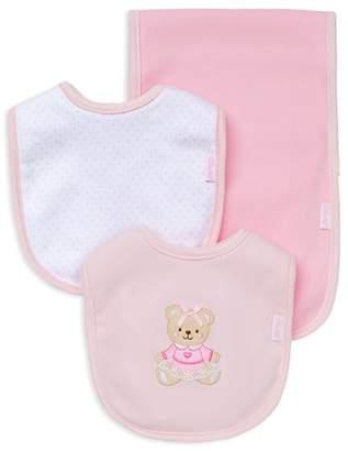 Little Me Infant Girls' Bear Bib & Burp Cloth Set