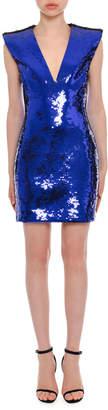 Versace Plunging Sleeveless Sequin Mini Dress