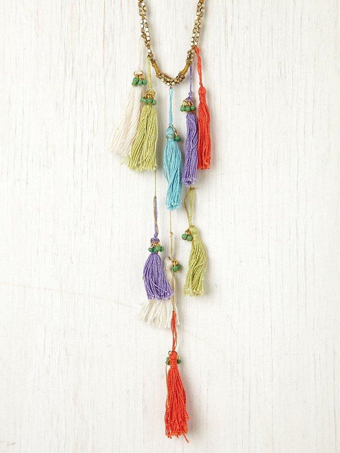 Berry Multi Thread Tassel Necklace