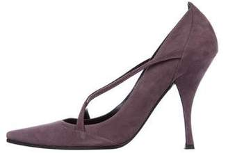 Casadei Suede Pointed-Toe Pumps