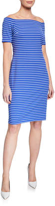 Iconic American Designer Striped Off-the-Shoulder Sheath Dress