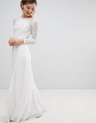 Frock and Frill Frock & Frill Long Sleeve Lace Maxi Dress With Embellished Detail