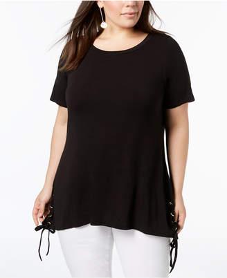 Belldini Plus Size Side-Lacing Tunic Top