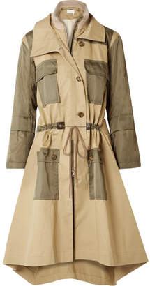 Chloé Gabardine And Wool-blend Trimmed Twill Trench Coat - Army green