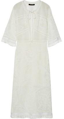 Roberto Cavalli Fringe-Trimmed Crochet-Knit Midi Dress