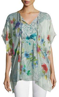 Johnny Was Floral-Print Tie-Neck Poncho, Plus Size $240 thestylecure.com