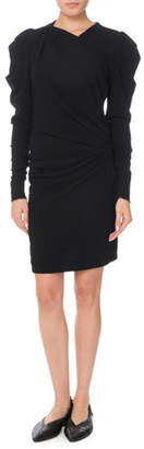 Isabel Marant Puff Long-Sleeve Ruched Mini Dress
