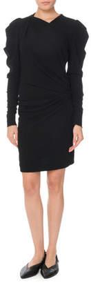 Isabel Marant Puff Long-Sleeve Ruched Mini Dress