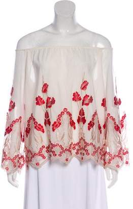 Alice + Olivia Embroidered Off-The-Shoulder Top