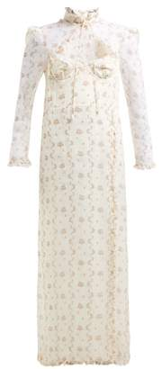 Brock Collection Olivia Floral Print Silk Organza Gown - Womens - White Multi