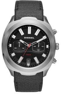 Diesel Tumbler Stainless Steel Leather-Strap Chronograph Watch