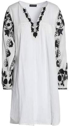 Antik Batik Pintucked Embroidered Cotton-Voile Mini Dress