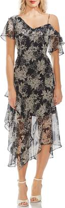 Vince Camuto Boudoir Botanical Ruffled One-Shoulder Party Dress