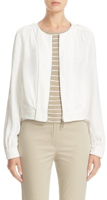 Women's Armani Jeans Crepe Zip Jacket $480 thestylecure.com