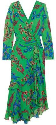 Etro Twist-Back Asymmetric Floral-Print Silk-Georgette Midi Dress