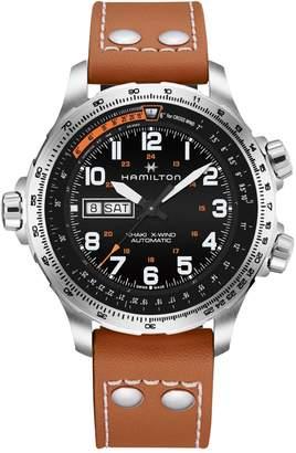Hamilton Automatic Khaki X-Wind Day Date Leather Watch