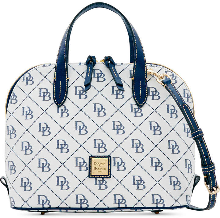 Dooney & Bourke Signature Zip Zip Medium Satchel, Created for Macy's - WHITE/MARINE - STYLE