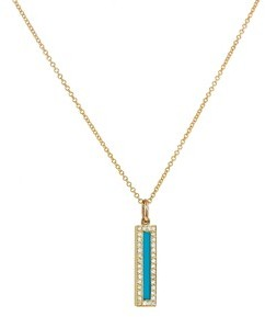 Jennifer Meyer Diamond Turquoise Inlay Long Bar Pendant - Yellow Gold