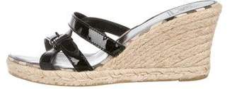 Burberry Patent Leather Slide Wedges