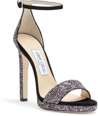 Jimmy Choo Misty 120 Black Suede Glitter Sandals