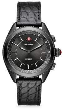 Michele Leather-Strap Hybrid Smartwatch