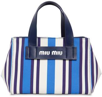 Miu Miu Small Striped Canvas Tote Bag