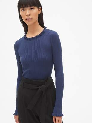 Gap Ribbed Ruffle-Trim Crewneck Pullover Sweater