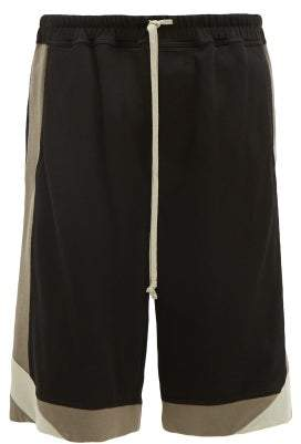 Rick Owens Karloff Contrast Panel Cotton Blend Shorts - Mens - Black Grey